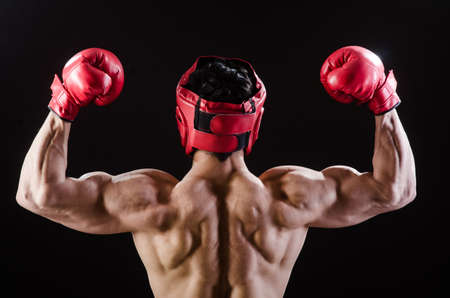 boxing boy: Muscular man in boxing concept