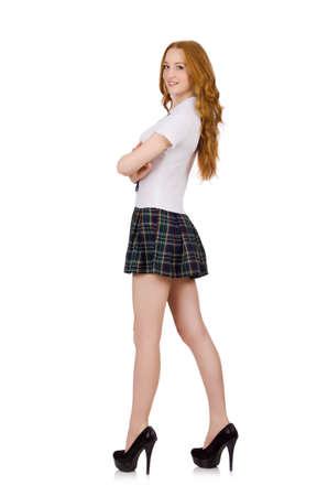 prankster: Schoolgirl isolated on the white Stock Photo