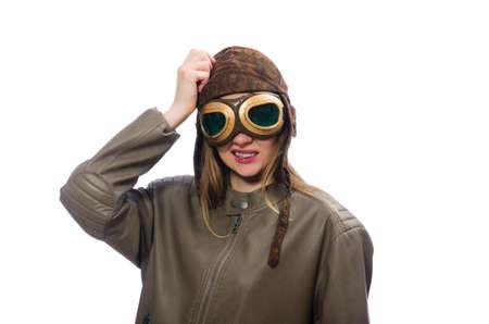 adventure aeronautical: Funny woman pilot isolated on white