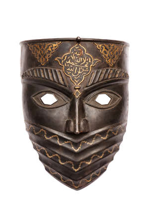 african mask: Metal mask isolated on white