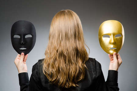 insincere: Woman with mask in funny concept