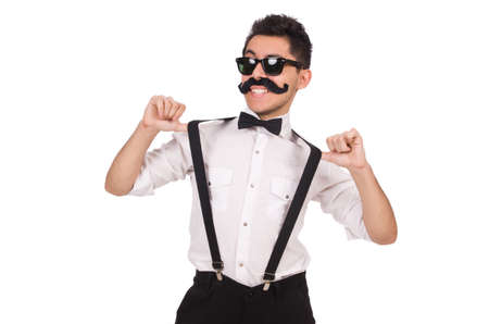 white moustache: Young man with moustache isolated on white Stock Photo