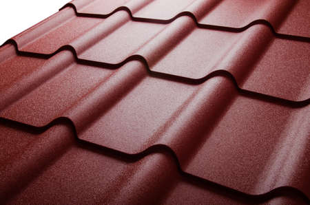 roof shingles: Close up of metal roof tile