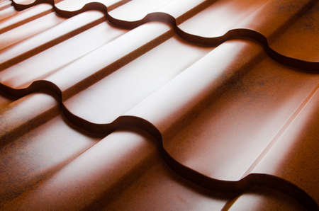 roof tiles: Close up of metal roof tile