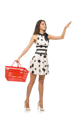 supermarket checkout: Woman in shopping concept isolated on white