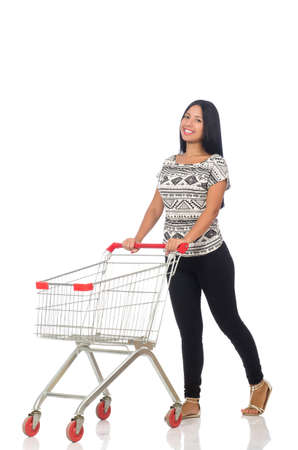 supermarket checkout: Woman in shopping concept on white