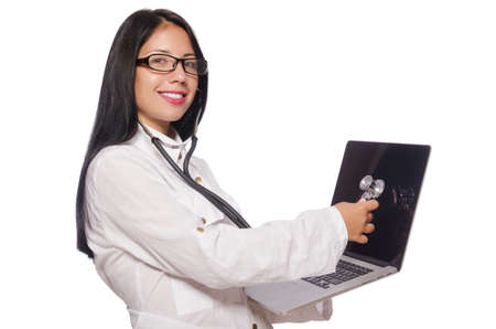 online service: Woman in IT security concept