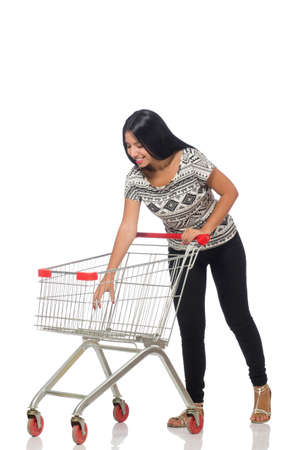 reach customers: Woman in shopping concept on white