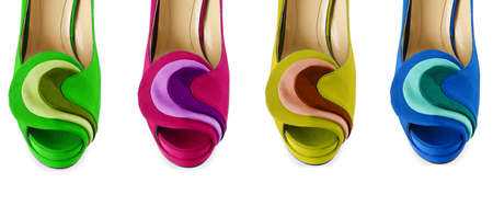 open toe: Colourful woman shoes isolated on white