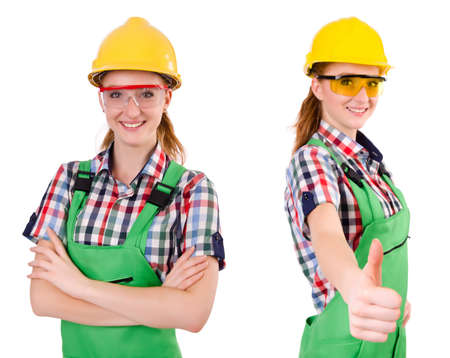 coveralls: Woman in green coveralls isolated on white Stock Photo
