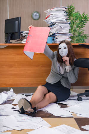 insincere: Businesswoman under stress working in the office