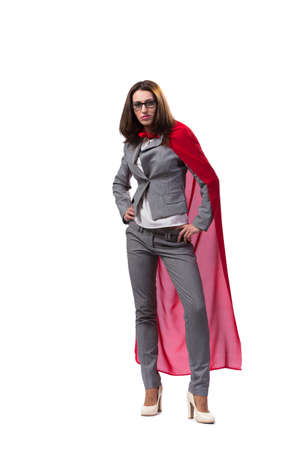 superwoman: Young superwoman isolated on white Stock Photo