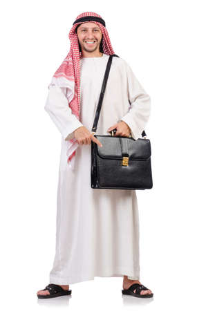 thoub: Arab man with briefcase isolated on white Stock Photo