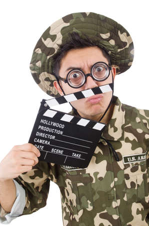 bullet camera: Funny soldier with movie board isolated on the white