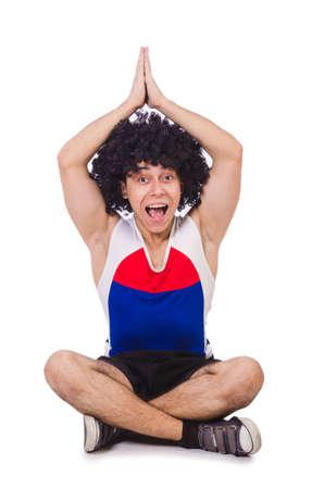 afrocut: Man doing exercises isolated on white Stock Photo