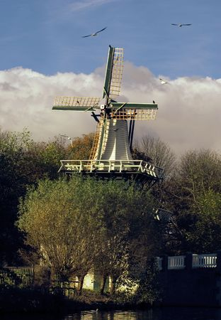 An old dutch windmill photo
