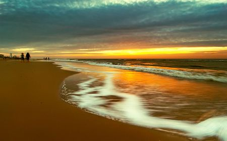 Beach with sunset colors