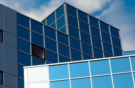 Modern office buildings with lots of glass