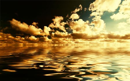 Water and sky in golden colors photo