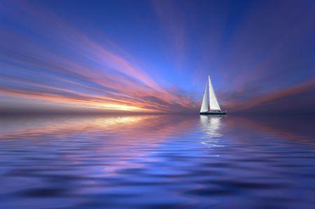 Sailing at sunset Stock Photo - 438864