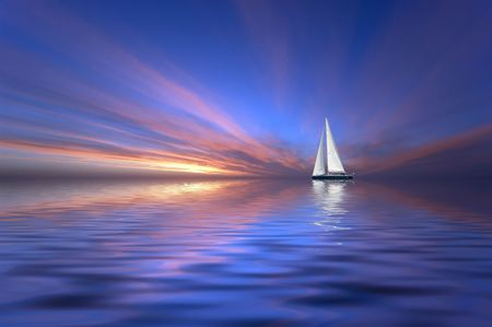Sailing at sunset Stock Photo - 438864