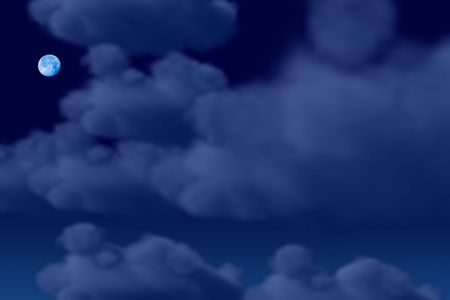 Nighttime background with fluffy clouds and a full moon