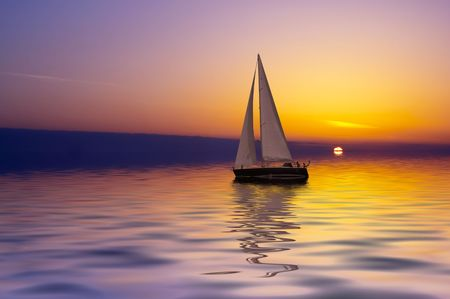 Sailing on a beautiful night Stock Photo - 444959