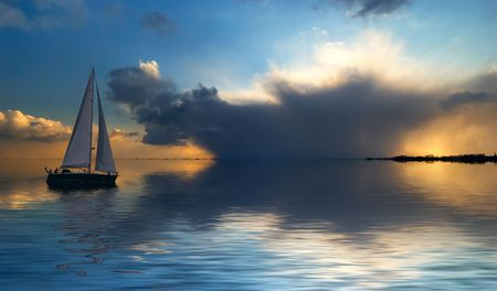 Sailing on a beautiful night Stock Photo - 444956