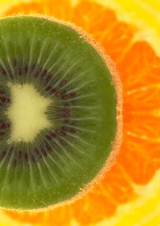 Kiwi and oranges background Stock Photo - 444939
