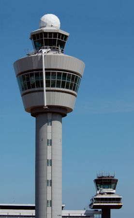 air traffic: Air traffic control tower at Amsterdam Airport Stock Photo