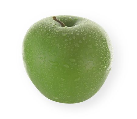 undefined: fresh isolated granny smith apple with water drops isolated on white and clipping path included