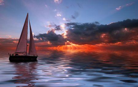 peace and love: Sailing on a beautiful night Stock Photo