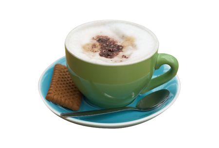 An isolated  cappucino with trendy colors, clipping path included Stock Photo - 488865