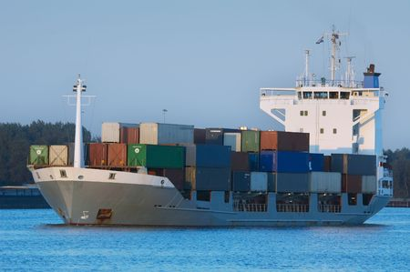 ijmuiden: a container ship in the harbor Stock Photo