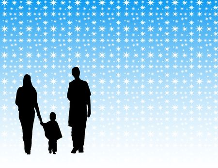 family in the winter vector design photo