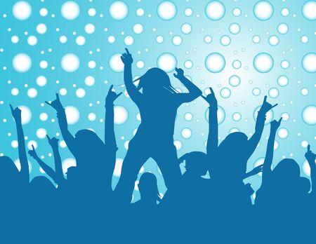 winter party: La gente che balla ad un partito di inverno
