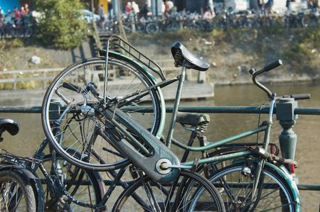 bicycles in amsterdam along the canal photo