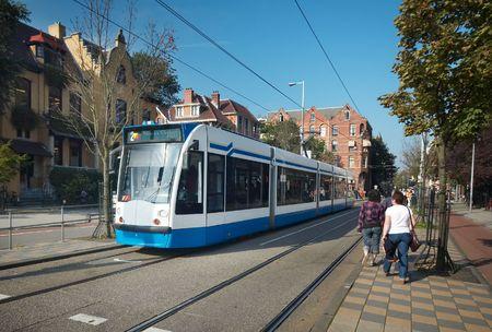 dutch canal house: A tram in amsterdam near the rijksmuseum Editorial