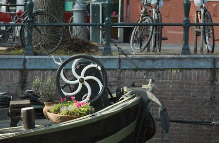 typical scene at a canal in amsterdam photo