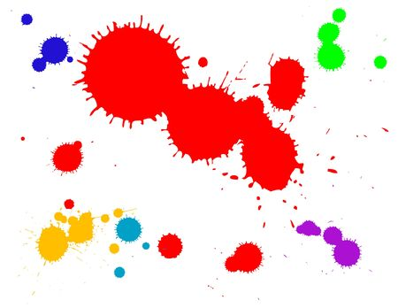 grouped: ink splats grouped and to be used as brushes, paint splatters, backgrounds or blood stains etc.  Stock Photo