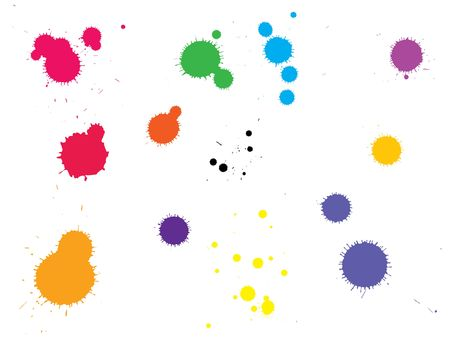 ink splats grouped and to be used as brushes, paint splatters, backgrounds or blood stains etc.  Stock Photo