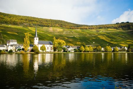 small village and vineyards along the mosel river in germany Stock Photo - 2033517