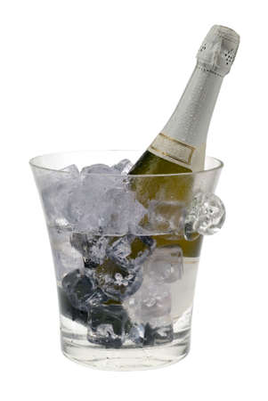 fresh graduate: champagne cooler filled with ice and bottle isolated on a white background Stock Photo