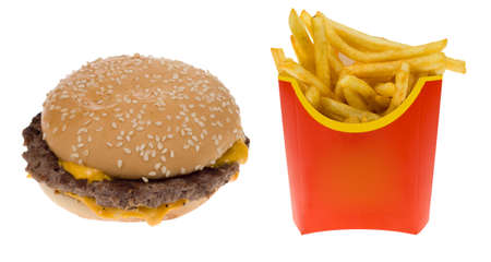 frites: Hamburger and a box of french fries isolated on a white background Stock Photo