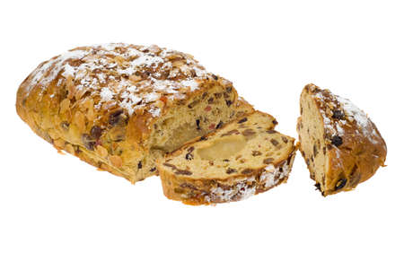 christmas paste: fresh christmas stollen bread isolated on a white background
