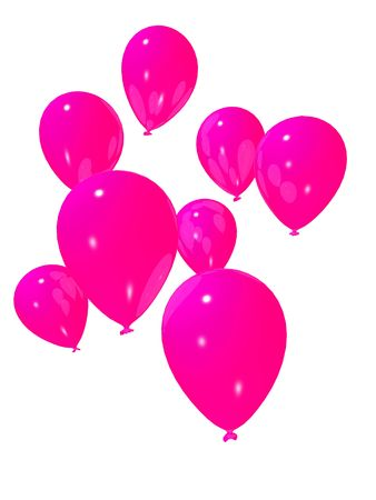 inflate: pink balloons Stock Photo