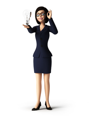young businesswoman: 3d rendered toon character - business woman