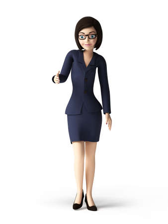 sexy business woman: 3d rendered toon character - business woman