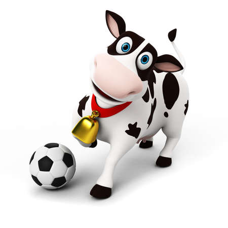 pastoral: 3d rendered toon character - funny cow Stock Photo