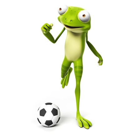 toe: 3d rendered toon character - green frog